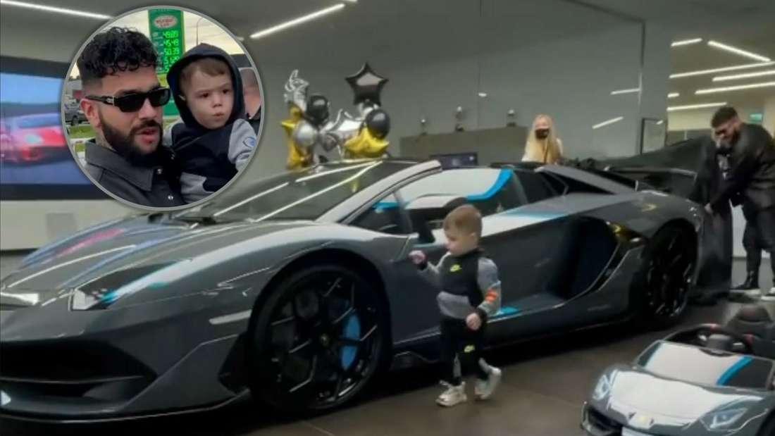 Rapper Timati und Sohn im Autohaus mit Lamborghini, dazu Einklinker der beiden