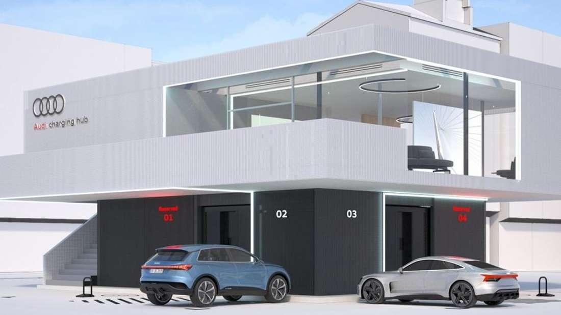"""Die Schnellladestation von Audi: """"Audi charging hub"""""""