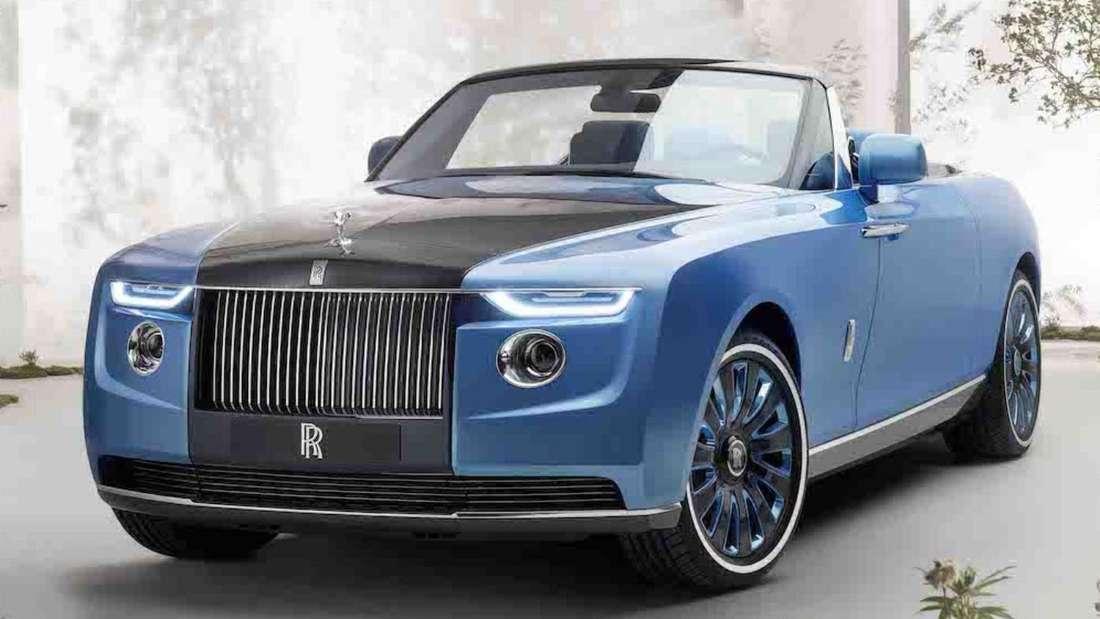 Der blaue Rolls-Royce Boat Tail von rechts vorne