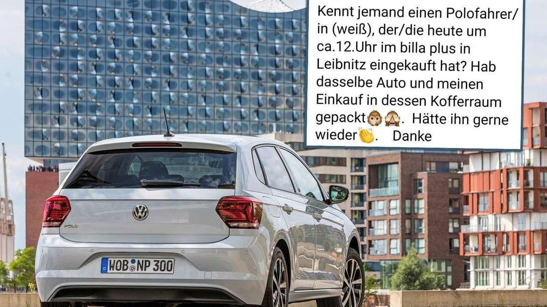 Links: ein weißer VW Polo. Rechts: der Facebook-Post der Österreicherin. (Symbolbild)