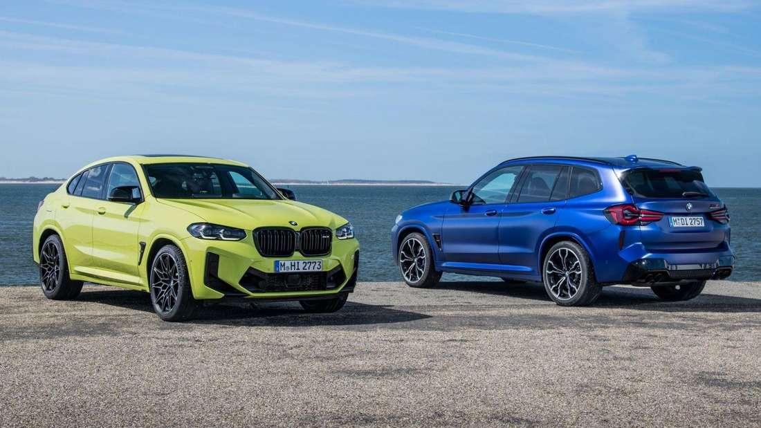 Der BMW X4 M Competition (links) und der X3 M Competition (rechts) als Facelift 2021