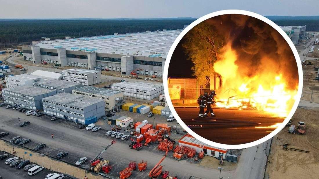 Die Baustelle der Tesla Gigafactory in Grünheide, dazu ein Feuerwehreinsatz auf einem Firmengelände (Symbolbild)