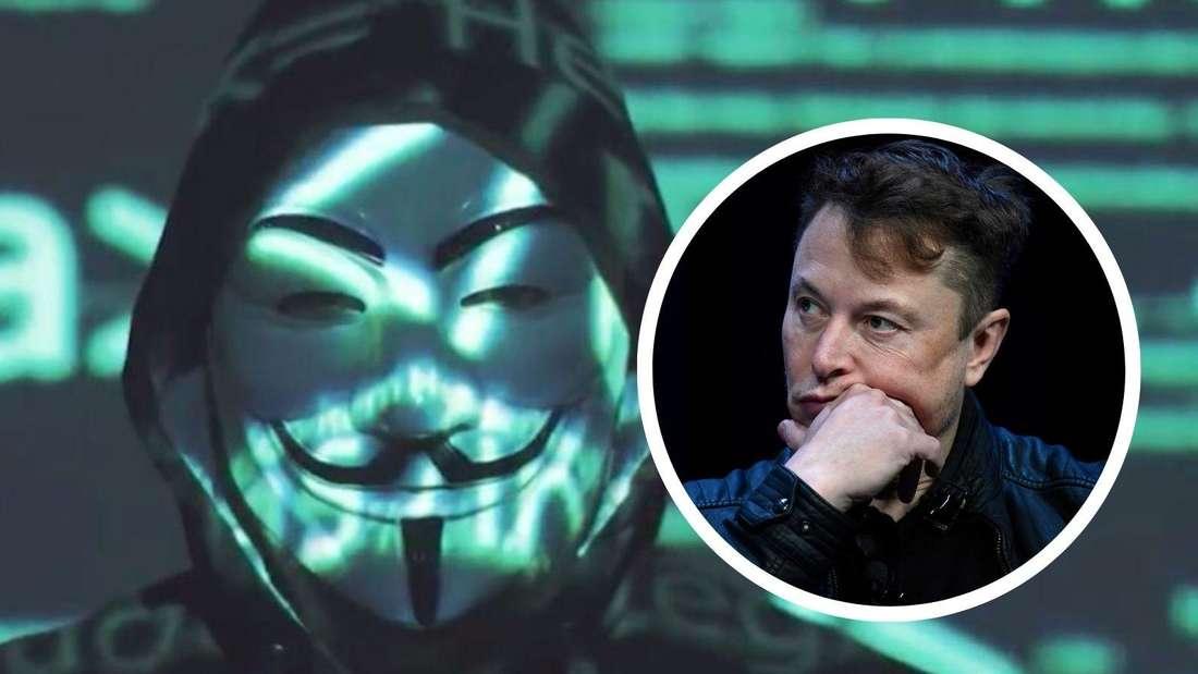 Ein Hacker mit der für Anonymous typischen Guy-Fawkes-Maske und als Einklinker Tesla-Boss Elon Musk (Symbolbild)
