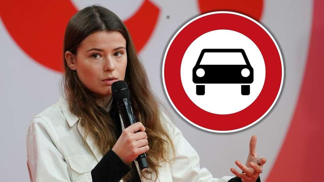 """Klima-Aktivistin Luisa Neubauer beim digitalen Debattencamp der SPD, dazu Verkehrsschild """"Verbot für Kraftwagen"""" (Montage, Symbolbild)"""