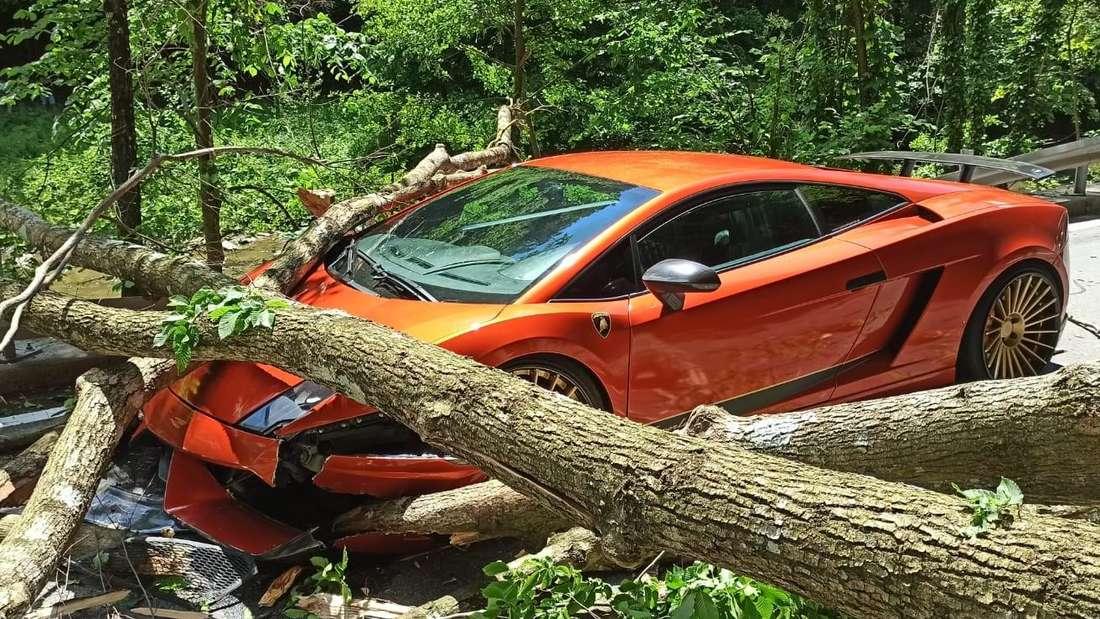 Verunfallter Lamborghini Gallardo mit Baumstämmen