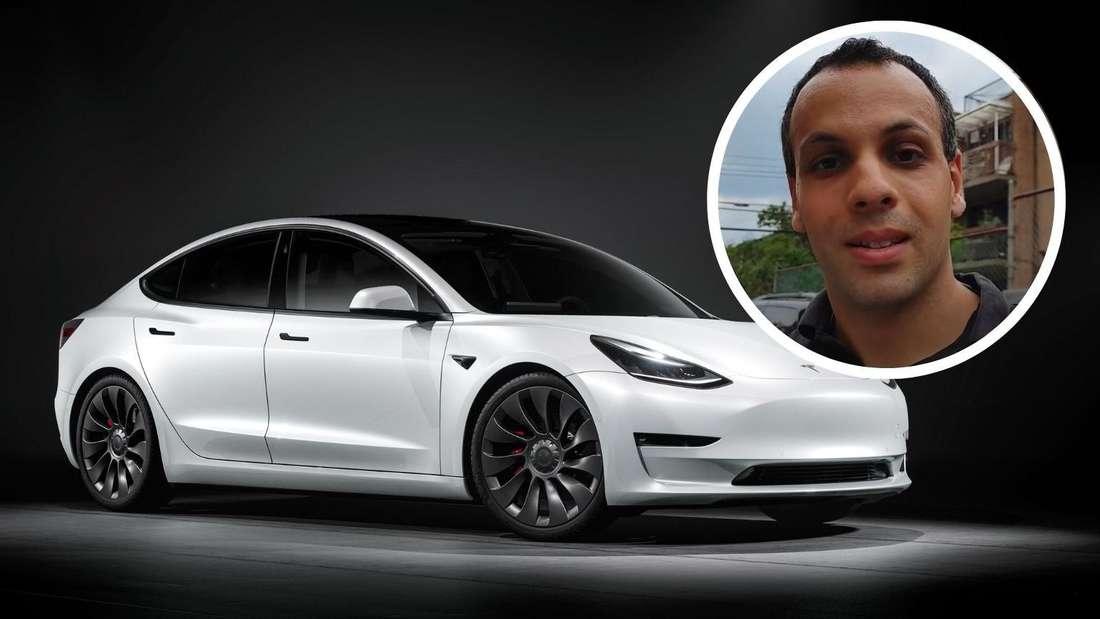 Ein weißes Tesla Model 3 sowie als Einklinker Reparatur-Experte und YouTuber Louis Rossmann (Symbolbild)