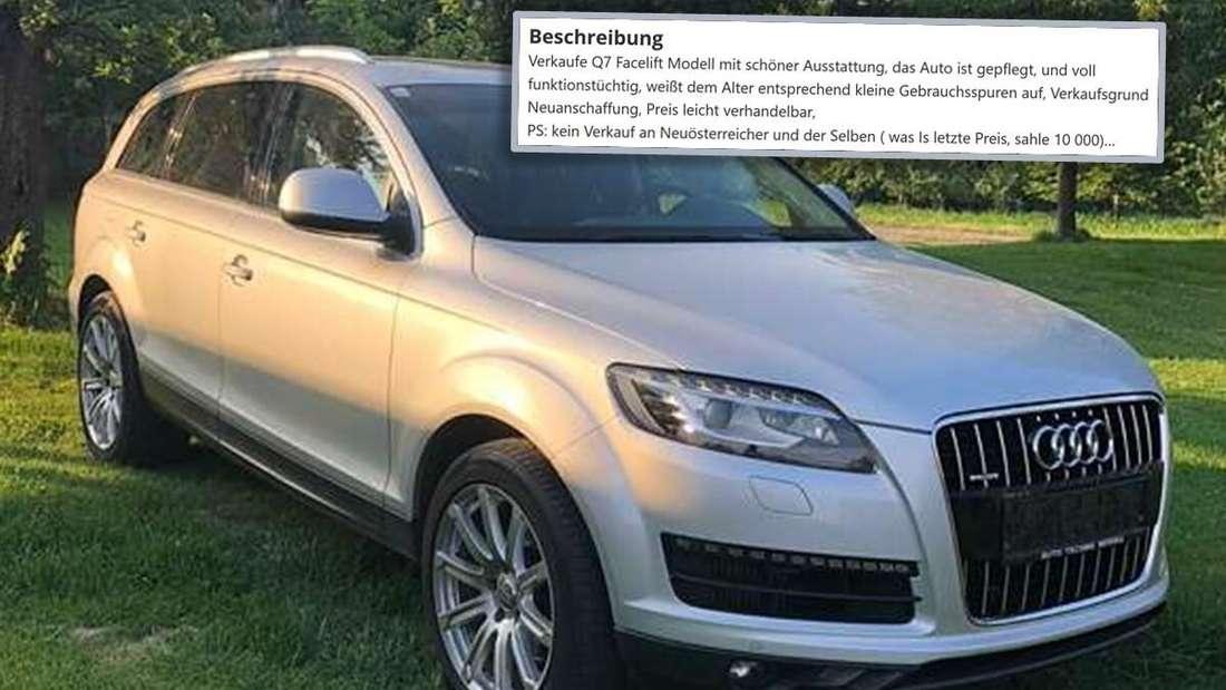 Der silbergraue Audi Q7 des Österreichers auf einer Wiese, dazu seine rassistische Verkaufsanzeige