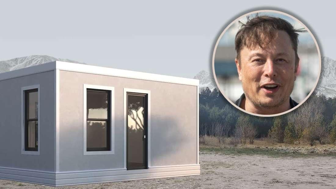Ein Tiny House, dazu als Einklinker Elon Musk (Symbolbild)
