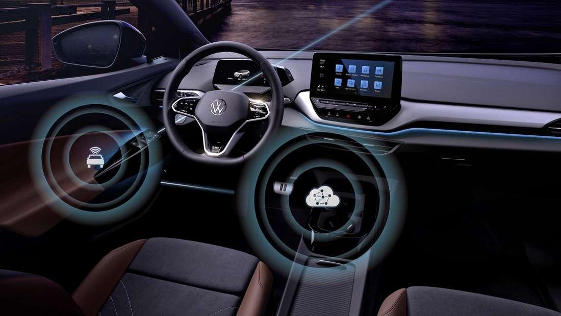 Das Cockpit eines ID-Modells von Volkswagen wird in futuristischer Anmutung präsentiert.