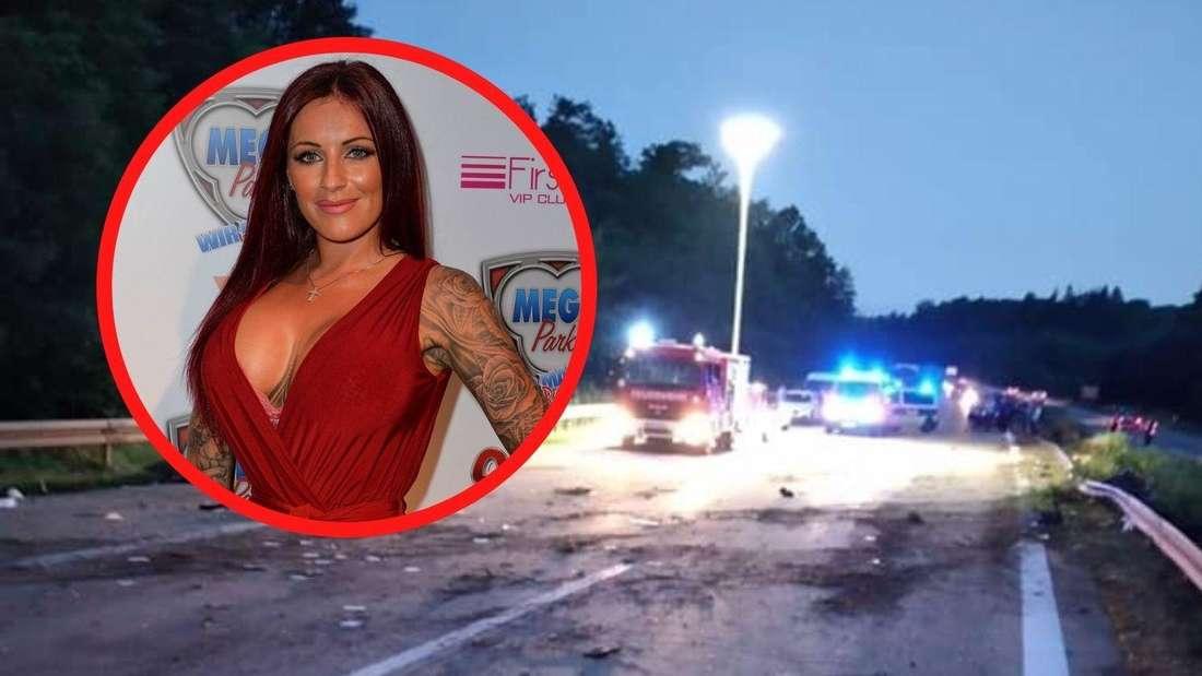 Im Hintergrund die Unfallstelle auf der Autobahn A11, als Einklinker Julia Jasmin Rühle (Symbolbild)