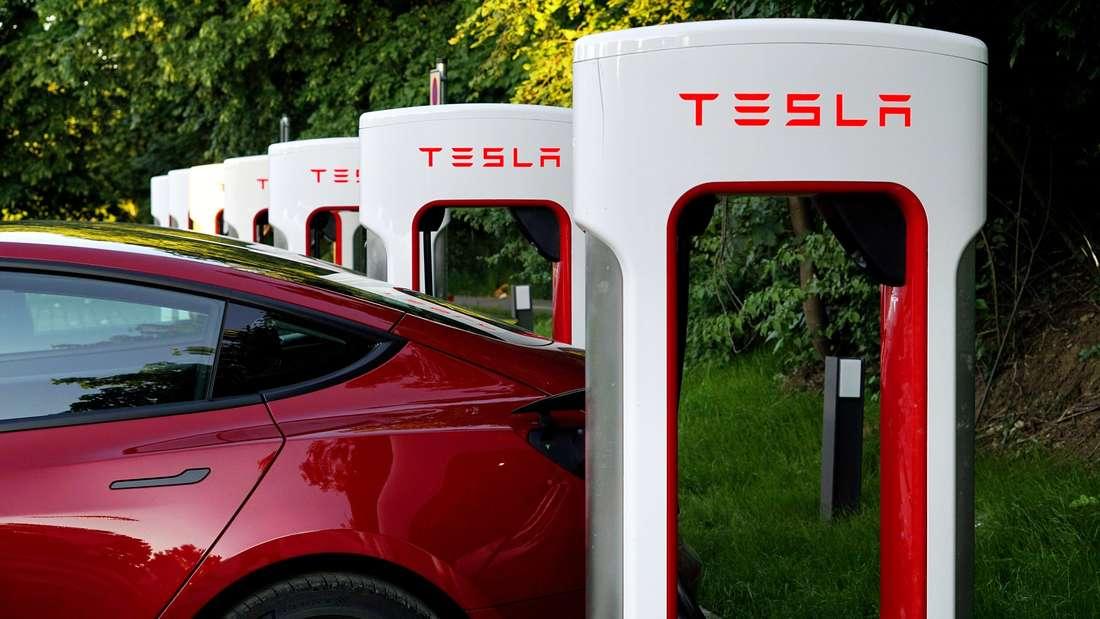 Mehrere Ladestationen zum Betanken von Tesla-Elektroautos befinden sich, in einer Reihe aufgestellt, auf einem Parkplatz.