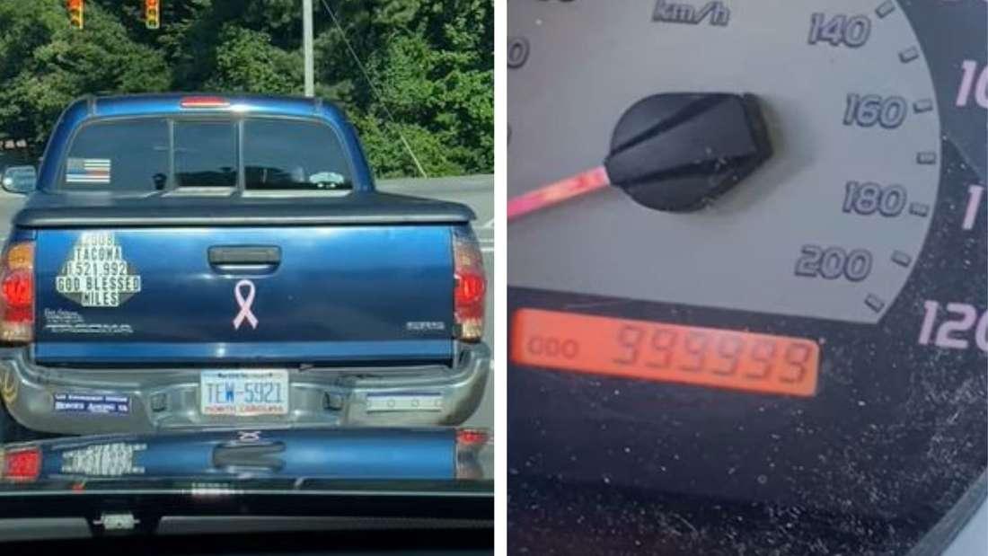 Links: der Toyota Tacoma mit dem 2,4-Millionen-Kilometer-Sticker, rechts: dessen Kilometerzähler
