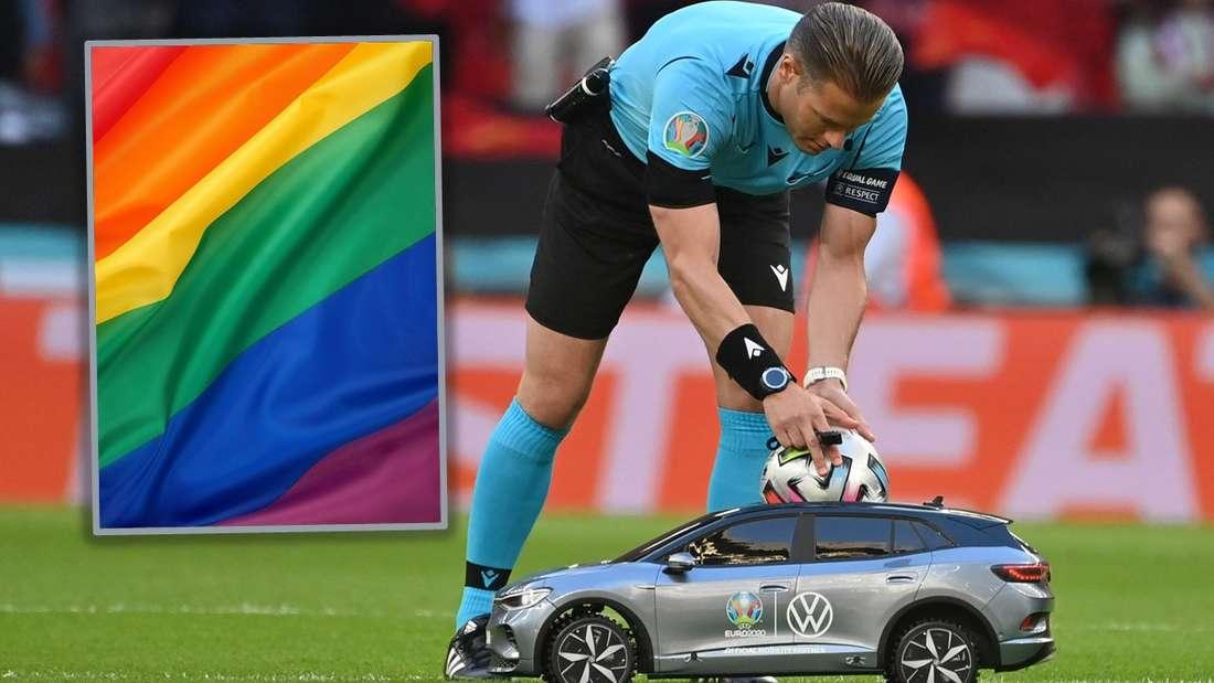 Ferngesteuerter VW ID.4 als Balljunge, als Einklinker die Regenbogenfahne (Symbolbild)