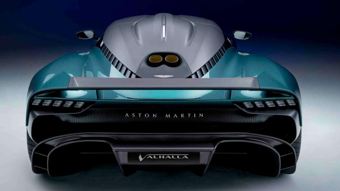 Heckansicht eines Aston Martin Valhalla