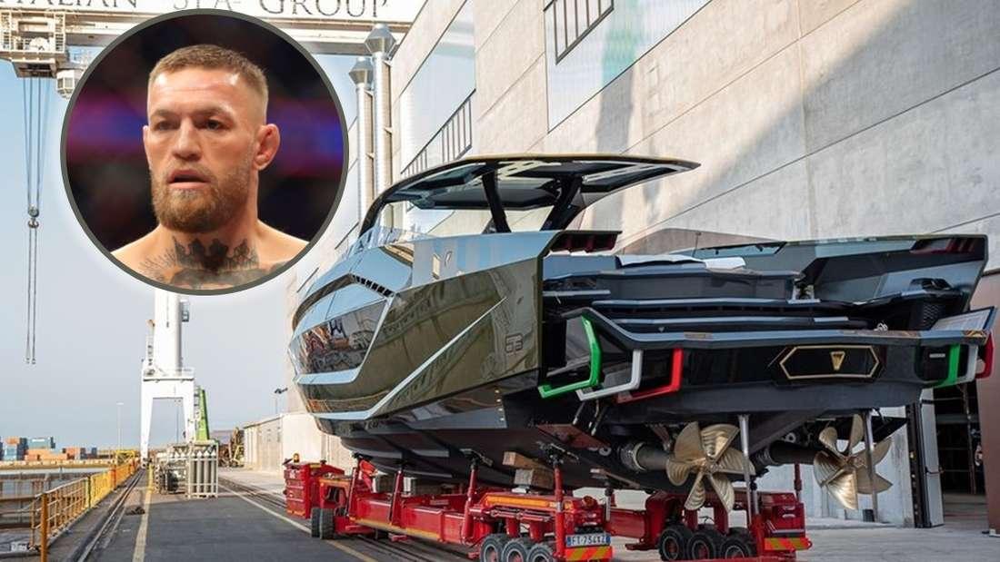 Die TecnomarforLamborghini 63 auf einem Tieflader, dazu Conor McGregor als Einklinker (Symbolbild)