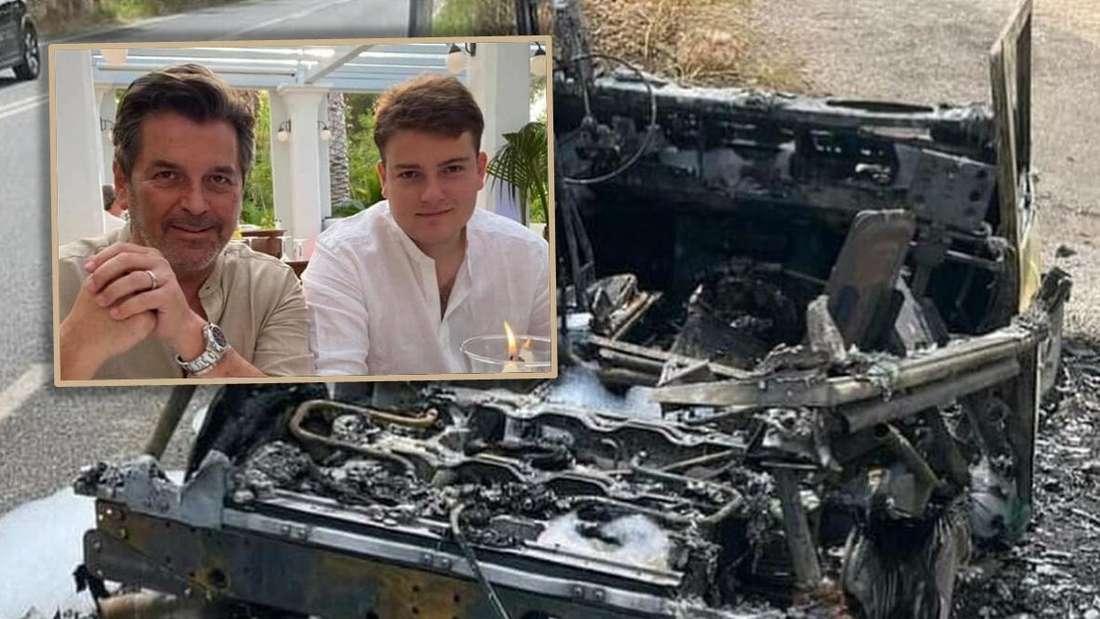 Links: Thomas Anders mit Sohn, rechts: das ausgebrannte Wrack des Land Rover Defender