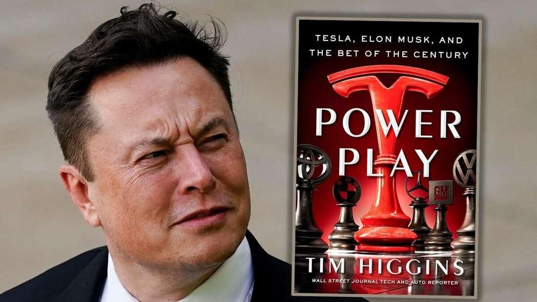 "Links: Elon Musk, rechts: das Enthüllungsbuch ""Power Play"" von Tim Higgins (Symbolbild)"