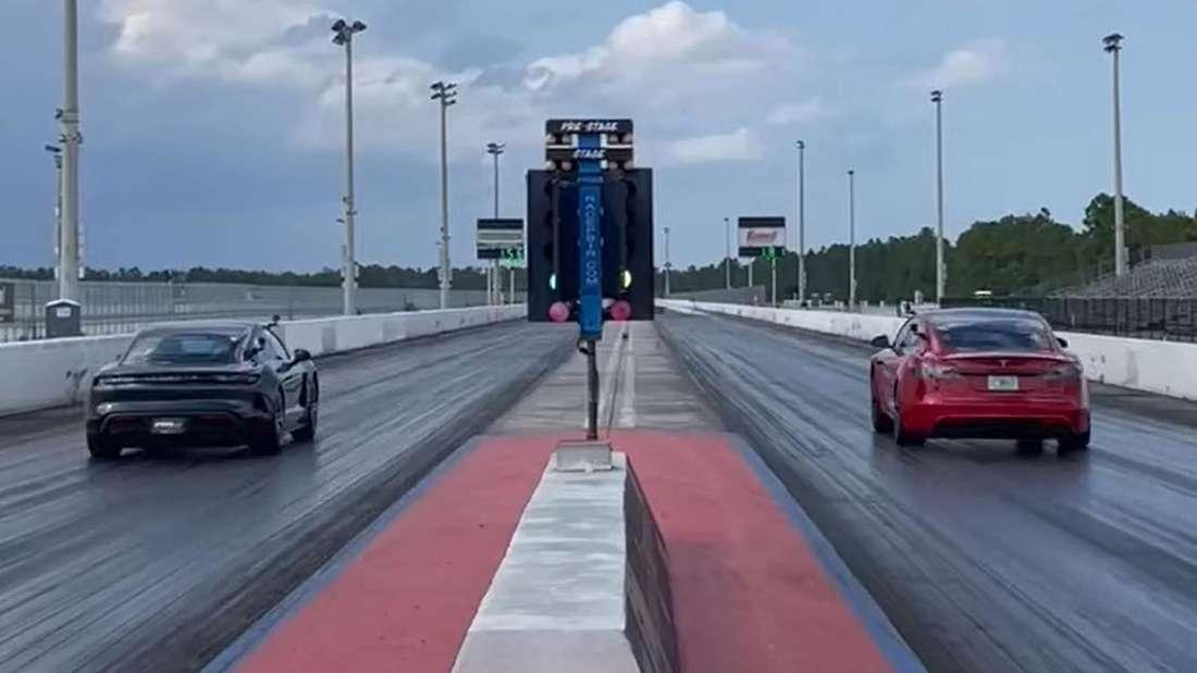 Porsche Taycan Turbo S fährt Dragster-Rennen gegen Tesla Model S Plaid.
