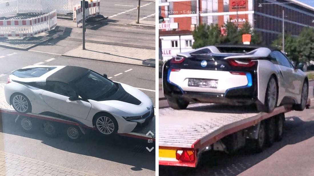 Ein BMW i8 in München hängt halb in der Luft.