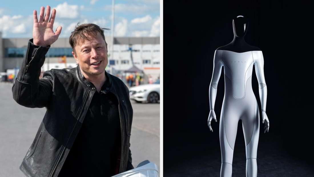 """Tesla Chef Elon Musk, dazu eine Animation des """"Tesla Bot"""""""