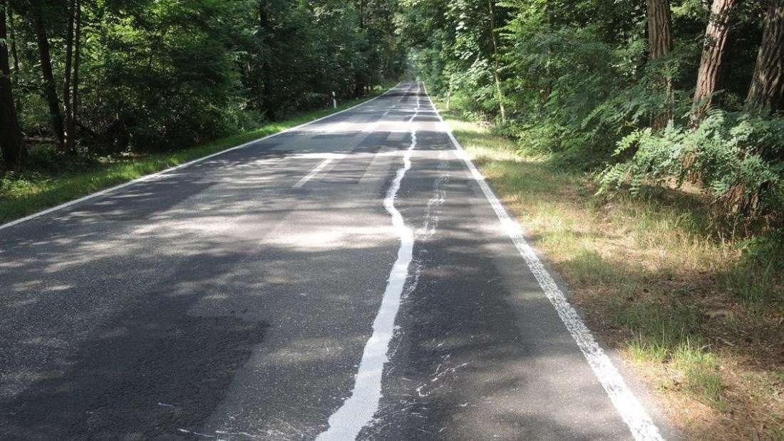 Ein Radweg ist mit Farbe auf eine Landstraße gemalt worden.