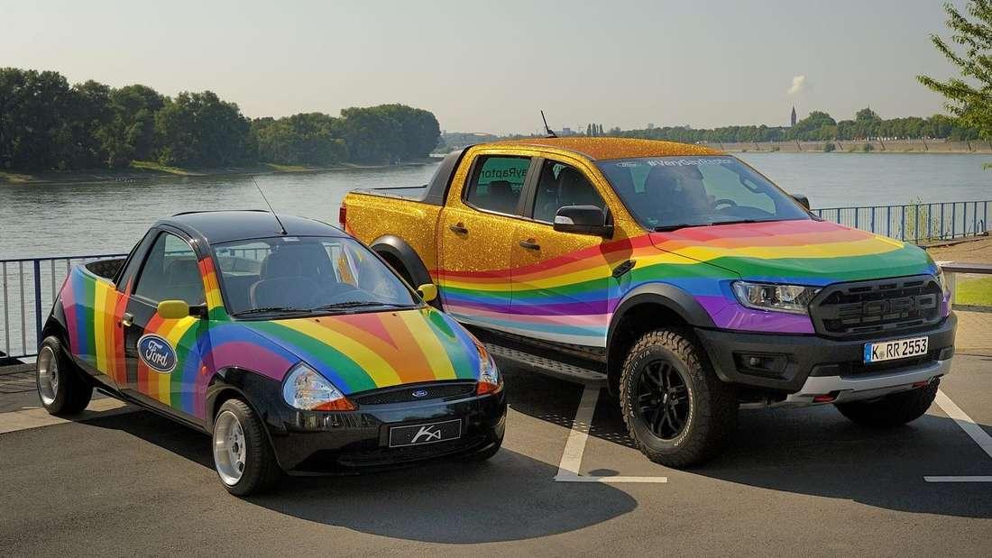 Ford Ranger und Ford Ka in Regenbogen-Lackierung