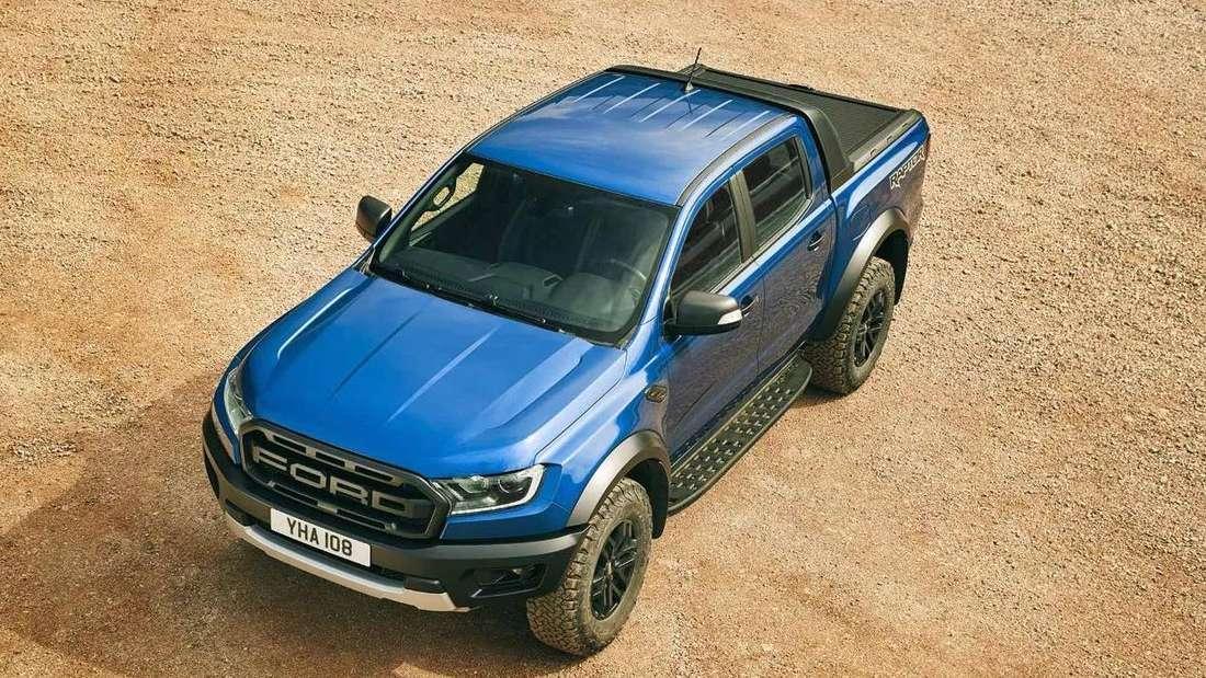 Ford Ranger Raptor, blau, stehend, aus Vogelperspektive