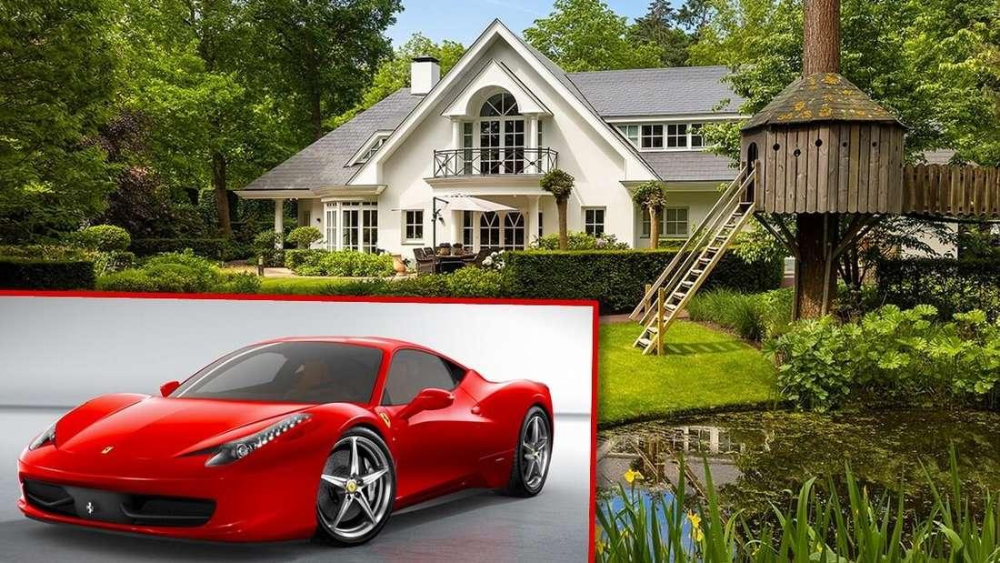 Links: ein roter Ferrari. Rechts: ein Luxus-Anwesen (Symbolbild)