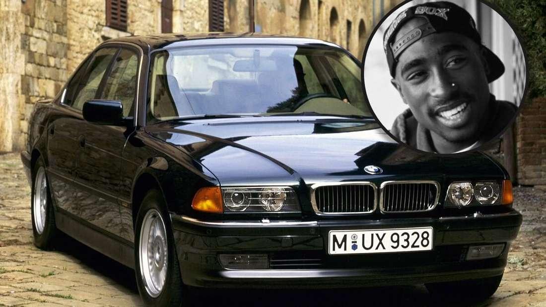 Ein schwarzer BMW 750iL, rechts oben: ein Schwarz-Weiß-Bild von Tupac Shakur (Symbolbild)