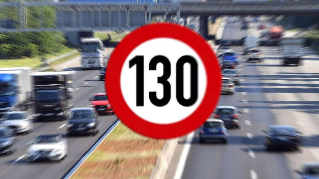 Im Hintergrund eine deutsche Autobahn, vorne ein Tempo-130-Verkehrsschild (Symbolbild)