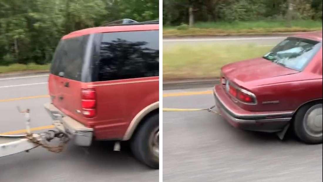 Die Hecks eines Buick LeSabre und eines Ford Expedition