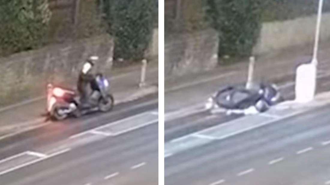 Ein Mann schiebt ein Motorrad, später liegt er darunter.